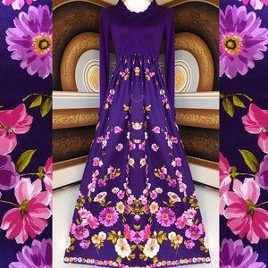 Sweet '60s/'70s Purple Floral Maxi Dress